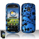 Hard Rubber Feel Design Case for Samsung Continuum - Blue Skulls