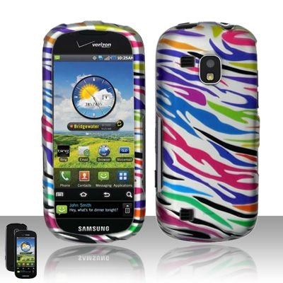 Hard Rubber Feel Design Case for Samsung Continuum - Colorful Zebra