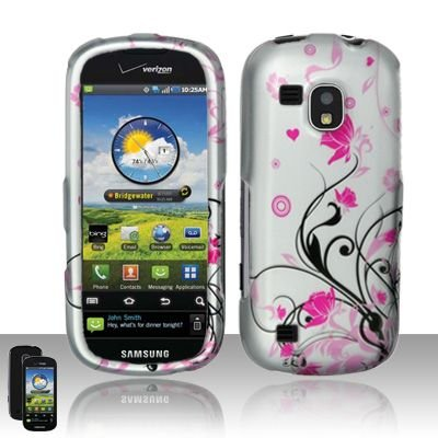 Hard Rubber Feel Design Case for Samsung Continuum - Pink Garden