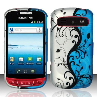 Hard Rubber Feel Design Case for Samsung Admire R720 - Blue Vines