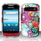 Hard Rubber Feel Design Case for Samsung Admire R720 - Purple Blue Flowers