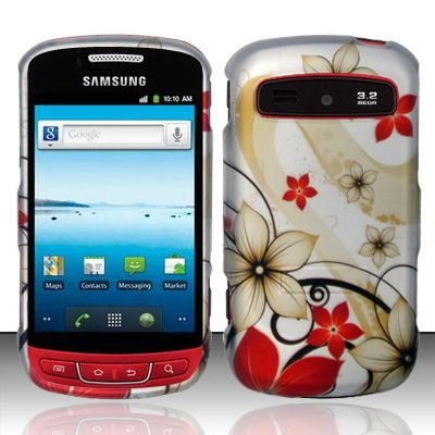 Hard Rubber Feel Design Case for Samsung Admire R720 - Red Flowers