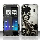 Hard Rubber Feel Design Case for HTC EVO Design 4G - Black Vines