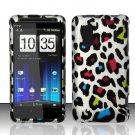Hard Rubber Feel Design Case for HTC EVO Design 4G - Colorful Leopard