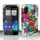 Hard Rubber Feel Design Case for HTC EVO Design 4G - Purple Blue Flowers