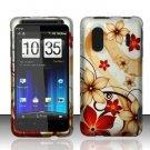 Hard Rubber Feel Design Case for HTC EVO Design 4G - Red Flowers