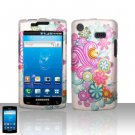 Hard Rubber Feel Design Case for Samsung Captivate i897 (AT&T) i897 (AT&T) - Purple Blue Flowers