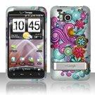 Hard Rubber Feel Design Case for HTC ThunderBolt 4G (Verizon) - Purple Blue Flowers