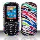 Hard Rubber Feel Design Case for LG Cosmos 2 VN251 (Verizon) - Colorful Zebra