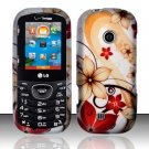 Hard Rubber Feel Design Case for LG Cosmos 2 VN251 (Verizon) - Red Flowers