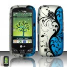 Hard Rubber Feel Design Case for LG Cosmos Touch VN270 (Verizon) - Blue Vines