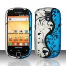 Hard Rubber Feel Design Case for Samsung Gravity Smart T589 - Blue Vines