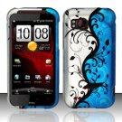 Hard Rubber Feel Design Case for HTC Rezound (Verizon) - Blue Vines