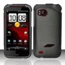 Hard Rubber Feel Design Case for HTC Rezound (Verizon) - Carbon Fiber