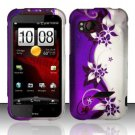 Hard Rubber Feel Design Case for HTC Rezound (Verizon) - Purple Vines