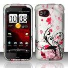 Hard Rubber Feel Design Case for HTC Rezound (Verizon) - Pink Garden