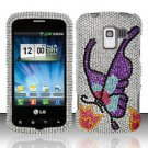 Hard Rhinestone Design Case for LG Enlighten/Optimus Slider - Colorful Butterfly (SALE!)