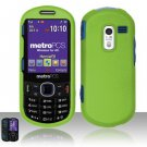 Hard Rubber Feel Plastic Case for Samsung Messager 3 - Neon Green