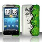 Hard Rubber Feel Design Case for HTC Inspire 4G/Desire HD - Green/Black Vines