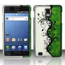 Hard Rubber Feel Design Case for Samsung Infuse 4G - Green/Black Vines