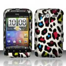 Hard Rubber Feel Design Case for HTC Wildfire S - Colorful Leopard