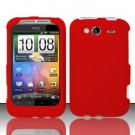 Hard Rubber Feel Plastic Case for HTC Wildfire S - Red