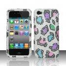 Hard Rhinestone Design Case for Apple iPhone 4/4S - Colorful Leopard