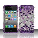 Hard Rhinestone Design Case for Apple iPhone 4/4S - Purple Gems
