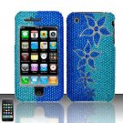 Hard Rhinestone Design Case for Apple iPhone 3G/3Gs - Blue Flowers