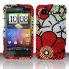 Hard Rhinestone Design Case for HTC DROID Incredible 2 6350 (Verizon) - Fall Flowers