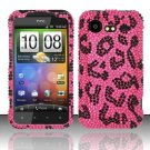 Hard Rhinestone Design Case for HTC DROID Incredible 2 6350 (Verizon) - Pink Leopard