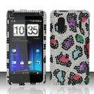 Hard Rhinestone Design Case for HTC EVO Design 4G - Colorful Leopard