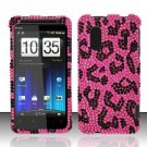 Hard Rhinestone Design Case for HTC EVO Design 4G - Pink Leopard