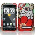 Hard Rhinestone Design Case for HTC EVO 4G - Fall Flowers