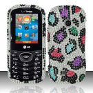 Hard Rhinestone Design Case for LG Cosmos 2 VN251 (Verizon) - Colorful Leopard