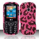 Hard Rhinestone Design Case for LG Cosmos 2 VN251 (Verizon) - Pink Leopard