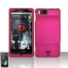 Hard Rubber Feel Plastic Case for Motorola Droid X MB810 (Verizon) - Rose Pink