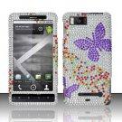 Hard Rhinestone Design Case for Motorola Droid X MB810 (Verizon) - Purple Butterfly