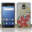 Hard Rhinestone Design Case for Samsung Infuse 4G - Red Flowers