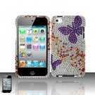Hard Rhinestone Design Case for Apple iPod Touch 4 - Purple Butterfly