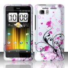 Hard Rubber Feel Design Case for HTC Vivid (AT&T) - Pink Garden