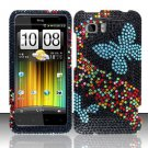 Hard Rhinestone Design Case for HTC Vivid (AT&T) - Blue Butterfly
