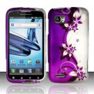 Hard Rubber Feel Desgin Case for Motorola Atrix 2 MB865 (AT&T) - Purple Vines