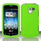 Hard Rubber Feel Plastic Case for LG Enlighten/Optimus Slider - Neon Green
