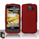 Hard Rubber Feel Plastic Case for LG Optimus S/U/V - Red
