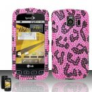 Hard Rhinestone Design Case for LG Optimus S/U/V - Pink Leopard