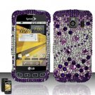 Hard Rhinestone Design Case for LG Optimus S/U/V - Purple Gems