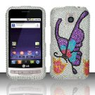 Hard Rhinestone Design Case for LG Optimus M/C - Colorful Butterfly
