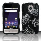 Hard Rhinestone Design Case for LG Optimus M/C - White Butterfly