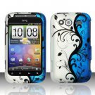 Hard Rubber Feel Design Case for HTC Wildfire S - Blue Vines